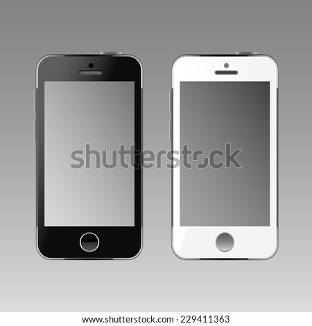 Modern white and black touchscreen cellphones tablet smartphone. Empty screen