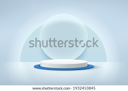 Modern white and blue cylinder podium with neon shining and transparent glass rings background. Abstract vector rendering 3d shape for advertising products display. Pastel minimal scene studio room.