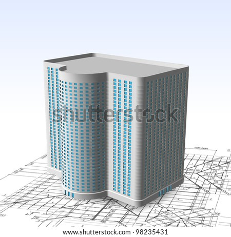 Modern white building. Vector