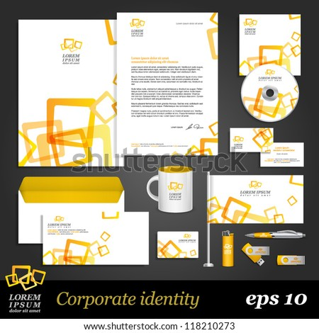 Modern white corporate identity template with yellow elements. Vector company style for brandbook and guideline. EPS 10