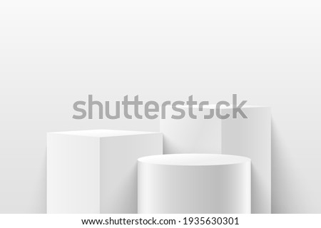 Modern white cube and cylinder step pedestal podium with white wall scene background. Abstract vector rendering 3d shape for cosmetic products presentation. Minimal empty studio room.