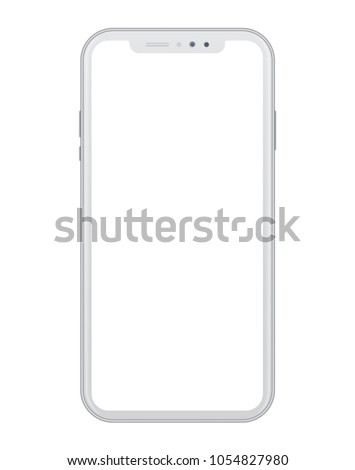 Modern white smart phone on white background. Realistic vector illustration, for graphic and web design