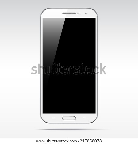 Modern white touchscreen cellphone tablet smartphone isolated on light background.  Empty screen