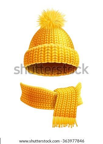 Modern winter knitted beanie hat with pompon and scarf set in yellow golden realistic pictogram vector illustration