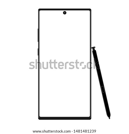 Modern wireframe smartphone with stylus isolated on white background. Vector illustration