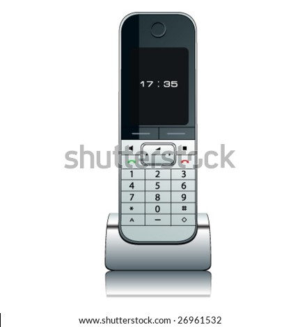 Modern wireless phone, vector illustration.