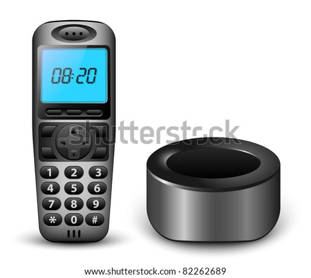 Modern wireless phone with clock on the screen and charger. Vector illustration