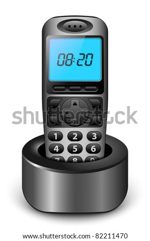 Modern wireless phone with clock on the screen. Vector illustration
