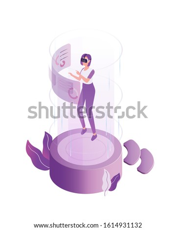 Modern woman wearing 3d headset at virtual reality world vector flat illustration. Playing online game simulated space isolated on white background. Cartoon futuristic female internet player.