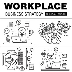 Modern workplace business strategy. Thin line icons set of office space. Desktop work set collection with technology interior elements. Premium quality vector symbol. Stroke pictogram for web design.