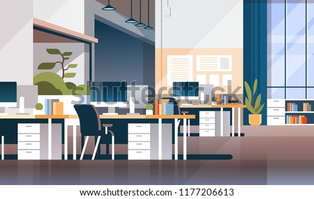 Modern workplace cabinet room office interior empty nobody coworking space flat horizontal vector illustration