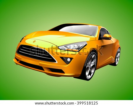 modern yellow car vector