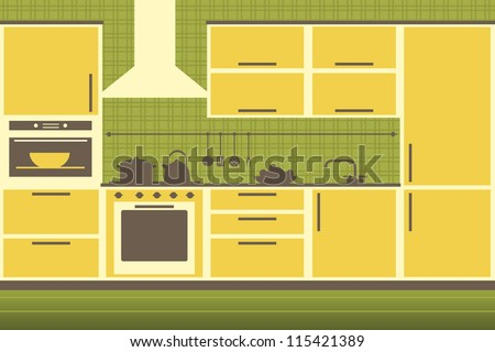 modern yellow kitchen interior