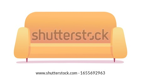 Modern yellow soft cozy sofa isolated on white background. Furniture for home room design interior item. Vintage divan. Couch for rest and relax. Front view. Vector illustration with shadow