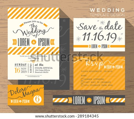 Modern invitation vector template download free vector art stock modern yellow stripe theme design wedding invitation set template vector place card response card save the stopboris Images