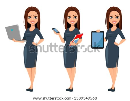 Modern young business woman holds laptop, holds smartphone and holds tablet. Cheerful cartoon character businesswoman in gray dress, set of three poses. Vector illustration