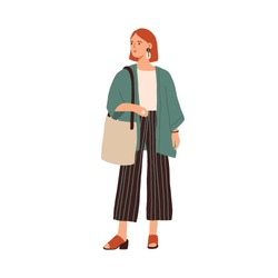 Modern young woman wearing casual clothes. Fashionable outfit. Stylish redhead female in cardigan and culottes isolated on white background. Flat colorful vector illustration