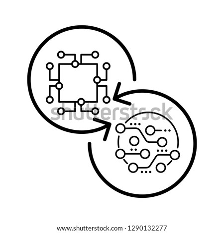 Modernization of electronic technologies, equipment. Vector icon, white background.