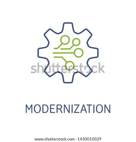 Modernization. Vector linear icon, white background.