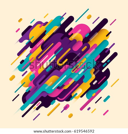 Modish abstraction, with composition made of various rounded shapes in intense colors. Vector illustration.