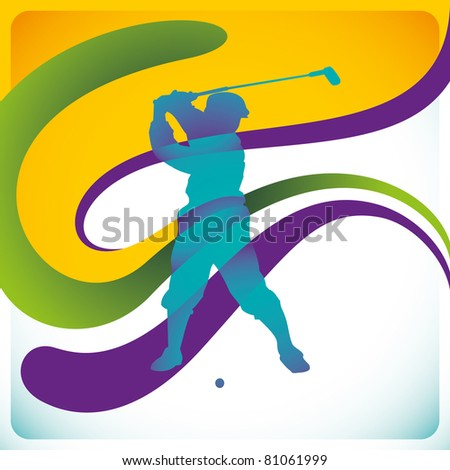Modish background with golf player. Vector illustration.