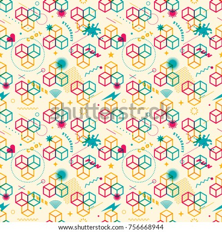 Modish seamless pattern design, made of geometric shapes and objects in intense colors. Vector illustration.