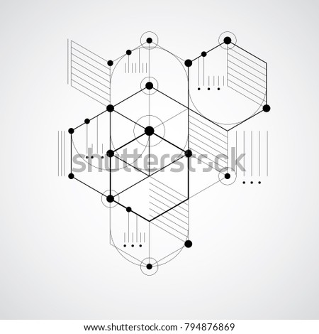 Modular Bauhaus vector background, created from simple geometric figures like hexagons, circles and lines. Best for use as advertising poster or banner design. Abstract mechanical scheme.