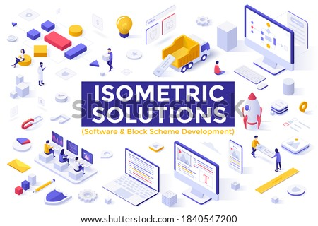 Modular Software and Block Scheme Development set - programmers coding on computers, people creating flowcharts or tree diagrams. Collection of isometric design elements. Modern vector illustration.