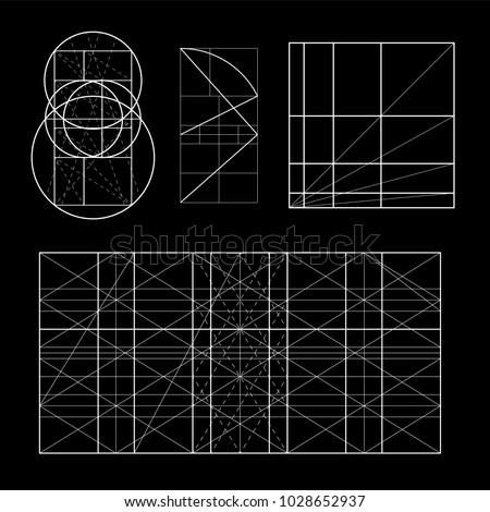Modulor le Corbusier. Cover template. armonious measure to the human scale universally applicable to architecture and mechanics. Scalable vector illustration.