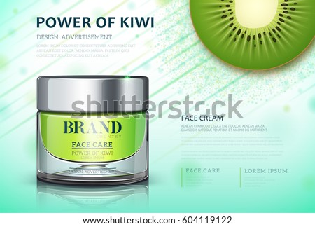 Moisture cream based kiwi. Cosmetic ads template. Skin care cosmetic cream power of kiwi. cream bottle, Vector illustration for cosmetic ads or magazine.