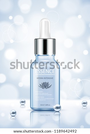 Moisture essence ads, light blue cosmetic skincare product with pearls isolated on bokeh background. Vector illustration