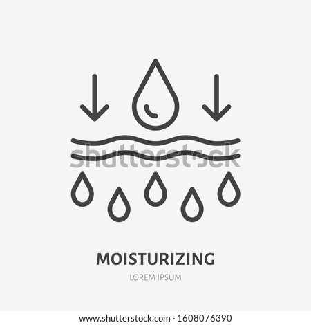 Moisture line icon, vector pictogram of moisturizing cream. Skincare illustration, sign for cosmetics packaging.