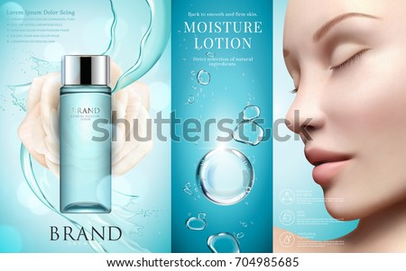 Moisture lotion ads, blue container with splashing water and bubbles in 3d illustration, beautiful model face