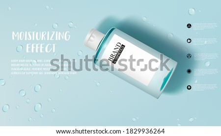 Moisture skincare product ads with Drop of water on cyan background. Vector illustration, eps10  Stock photo ©