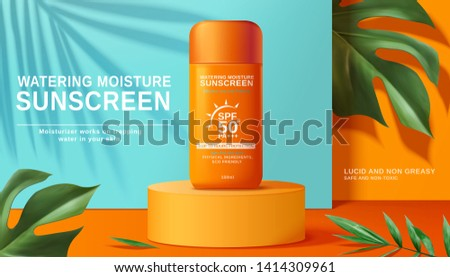 Moisture sunscreen ads on orange cylinder with tropical plants in 3d illustration