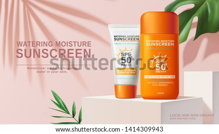 Moisture sunscreen ads on white square stage with tropical plants in 3d illustration, pink background