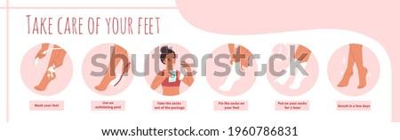 Moisturizing foot socks application steps, flat vector illustration. Silicone gel mask for dry hard cracked heel. Foot skin care.
