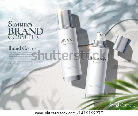 Moisturizing skincare spray ads with products laying on beautiful beach in 3d illustration