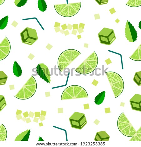 Mojito cocktail seamless pattern. Top view lemonade wallpaper. Illustration with mint, ice cube and lime. Fresh summer time print or t-shirt, prints, banner, party invitation or packaging design.  Foto d'archivio ©
