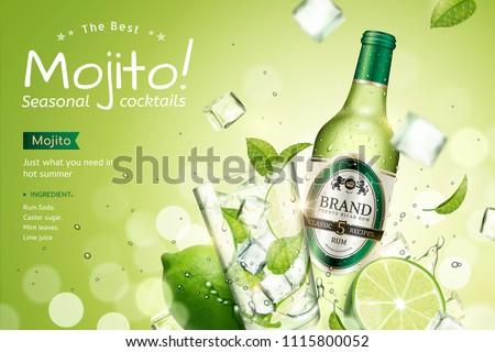 Mojito seasonal cocktails ads with refreshing fruit and ice cubes flying in the air on green glitter bokeh background, 3d illustration