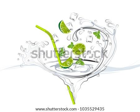 mojito splash with limes  mint