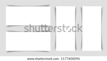 Mok-up of narrow horizontal and horizontal flyers with shadow on a gray background. Template for the presentation of banners, posters, postcards and invitations. Vector illustration.
