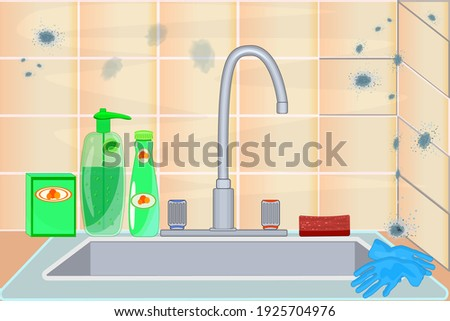 Mold on ceramic tile. Mildew in kitchen. Dark stains on the wall. Toxic mold spores, health hazard. Concept of condensation, damp, high humidity and respiratory problems. Stock vector illustration Stock photo ©