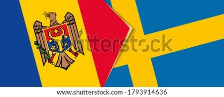 moldova and sweden flags  two