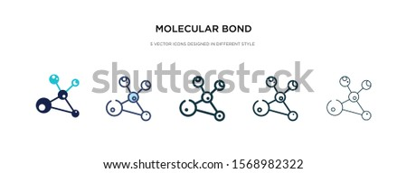 molecular bond icon in different style vector illustration. two colored and black molecular bond vector icons designed in filled, outline, line and stroke style can be used for web, mobile, ui