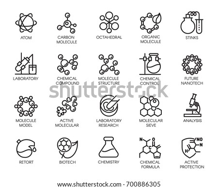 Molecular chemistry, physics and medicine icons in linear style. Big set of 20 outline pictograms isolated on a white background. Scientific symbols. Vector contour labels