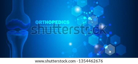 Molecular structure and knee bone background. Abstract orthopedics background with molecule DNA. Medical, science and technology, hospital for body joints, anatomy concept. Vector illustration