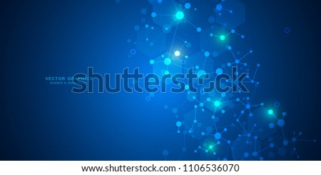 Molecular structure background. Abstract background with molecule DNA. Medical, science and technology concepts, vector illustration