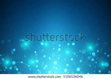 Molecular structure background. Abstract background with molecule DNA. Medical, science and digital technology with connected lines and dots