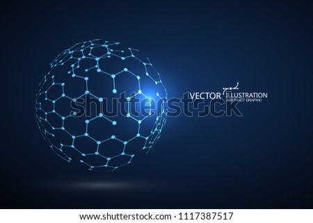 Molecular structure composed of spheres, abstract graphic design.